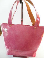 T Bottom tote Pink patent leather with zippered compartment inside.