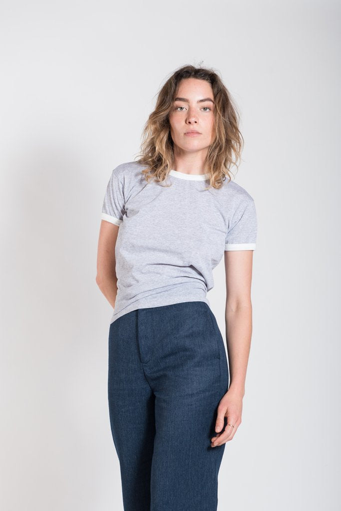 Vege Threads Contrast Fitted Tee Grey