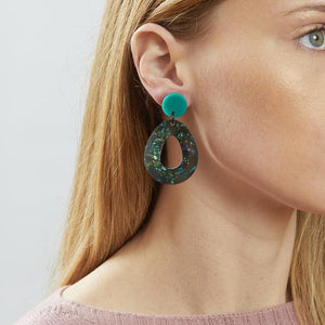Teardrop Earrings - Storm Green