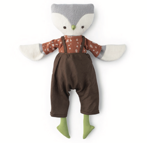 Jeremy Owl in Brown Linen Overalls