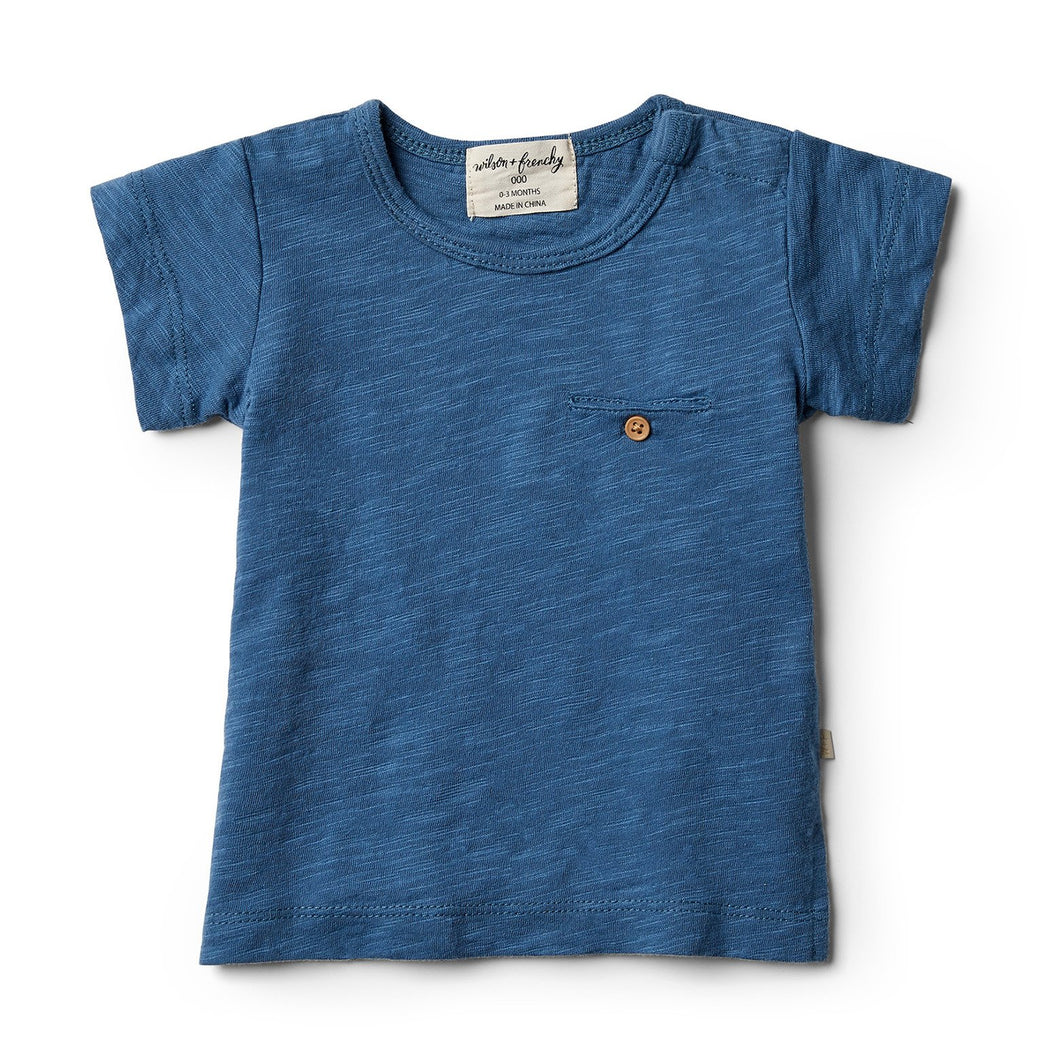 Deep Blue Tee with Pocket (6-12m)