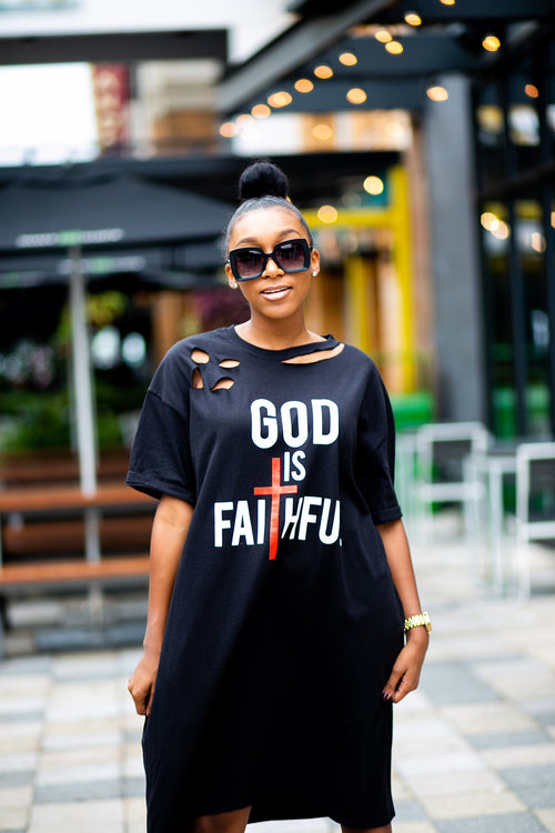 """GOD is FAITHFUL"" Distressed T-Shirt Dress"