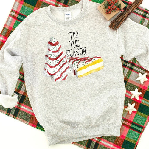 Tis the season Christmas cake shirt ~ Christmas graphic sweatshirts - Blush & Company Designs