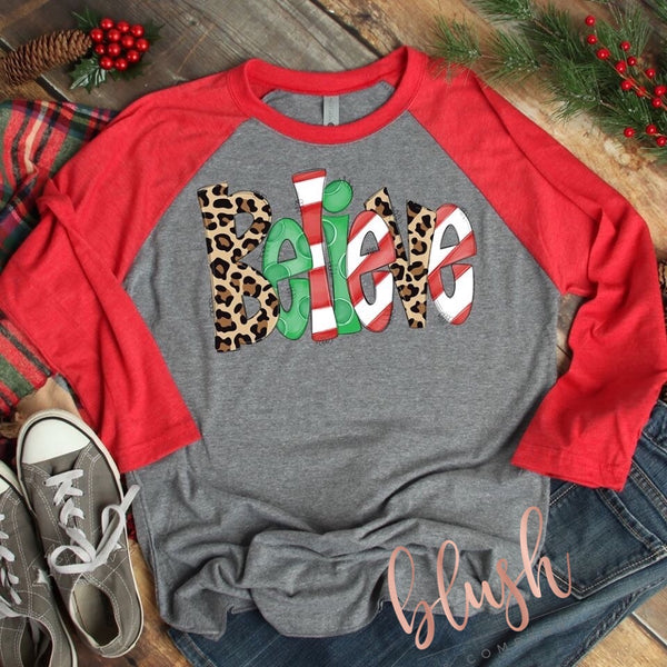 Believe Christmas Shirt with Leopard Accents ~ Women's Christmas Shirts - Blush & Company Designs