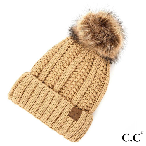 CC Beanie with fur pom pom ~ Cable knit Beanie - Blush & Company Designs