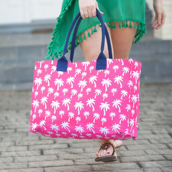 Hot Pink Palm Tote Bag ~ Monogrammed Tote Bag ~ Beach Tote - Blush & Company Designs