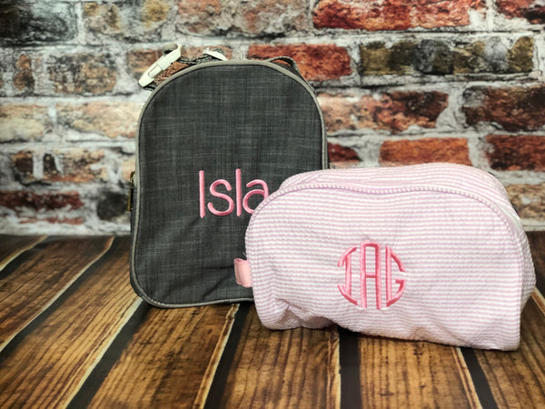 Gumdrop Lunch Box by Mint®  |  Monogrammed Lunch Box  |  Seersucker lunch box | school lunch box - Blush & Company Designs