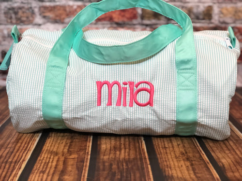 Seersucker Duffel Bag by Mint® | Monogrammed Seersucker Duffel bag | Monogrammed Weekend bag ~ Kid's travel bag - Blush & Company Designs