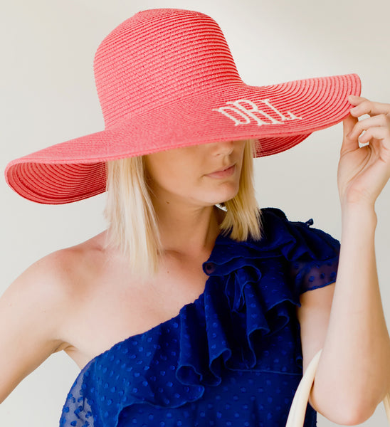 Monogrammed Floppy Hat ~ Bridesmaid Hats ~ Beach Hat ~ Sun Hat ~ - Blush & Company Designs