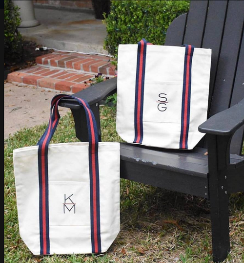 Shore Strapping Shopper tote ~ Monogrammed Tote Bag - Blush & Company Designs