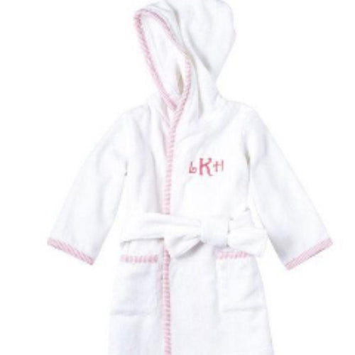 Pink seersucker girls bath robe ~ monogrammed bath robe ~ mud pie robe - Blush & Company Designs