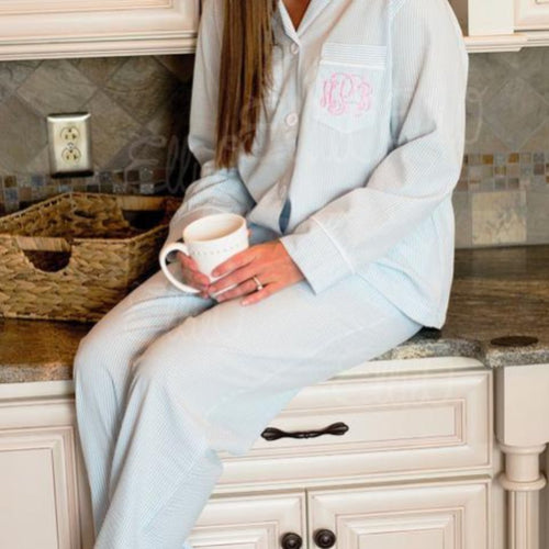 Monogrammed Lounge pants and top SET ~ Monogrammed PJs, Bridesmaid getting ready shirtSeersucker PJ top and pants , Bridesmaid top and pants - Blush & Company Designs