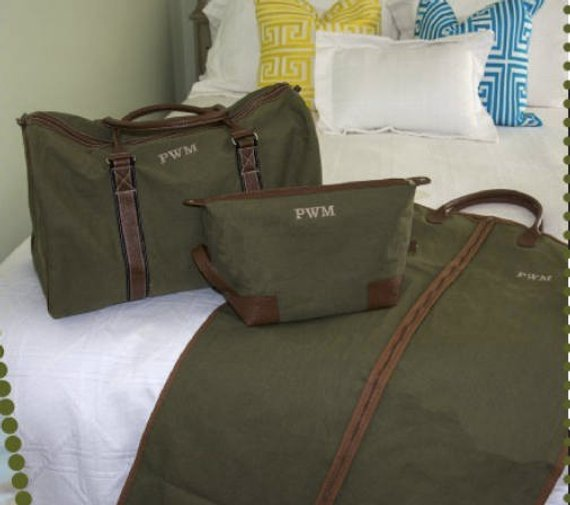 Men's Duffle, Garment bag and Dopp Kit Set ~ Three piece luggage set - Blush & Company Designs