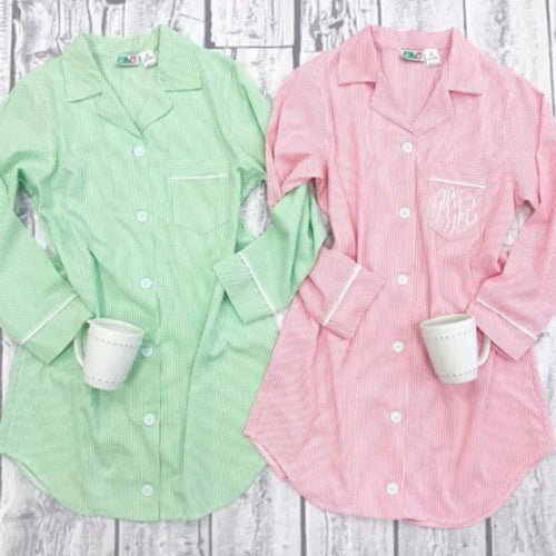 Monogrammed Seersucker Lounge Shirt ~ seersucker nightgown ~ Bridesmaid, Mom, graduate, new mom - Blush & Company Designs