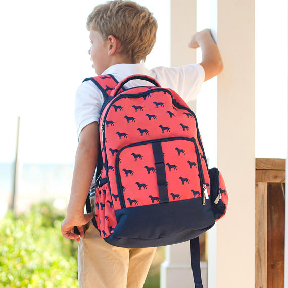Dog Days Monogrammed Backpack ~ Monogrammed boys backpack ~ personalized backpack - Blush & Co. Designs