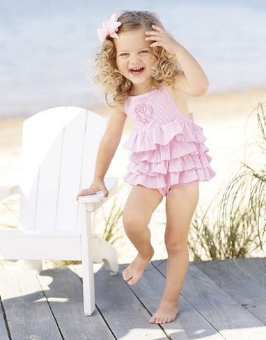 Monogrammed pink seersucker ruffle swimsuit ~ pink seersucker bathing suit ~ little girl monogrammed swim suit - Blush & Company Designs