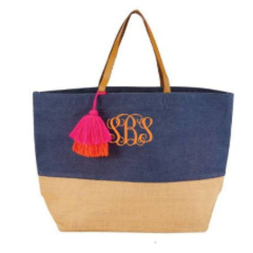 Monogrammed Color Block jute tote - Blush & Company Designs