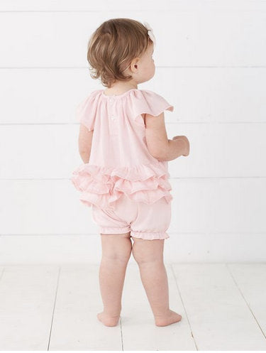 Monogrammed Pink Faille Bubble ~ Little girl monogrammed bubble ~ Coming home bubble ~ summer outfit - Blush & Company Designs