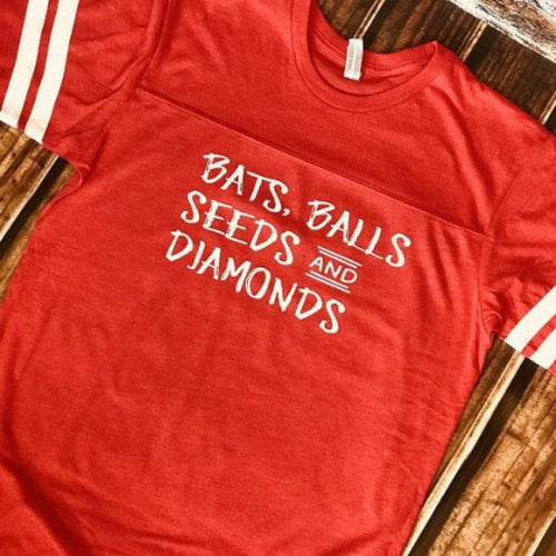 Bats, Balls, Seeds and Diamonds shirt - Baseball mom shirts - Blush & Company Designs