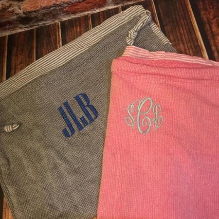 Monogrammed Turkish Beach towel ~ Monogrammed Beach blanket ~ Peshtemal