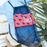 Dog days shell mesh bag~ Monogrammed shell tote ~ boys mesh cinch sac - Blush & Company Designs
