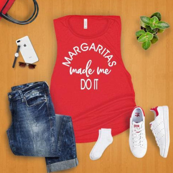 Margaritas Made Me Do It Muscle Tank ~ Summer tank top - Blush & Company Designs