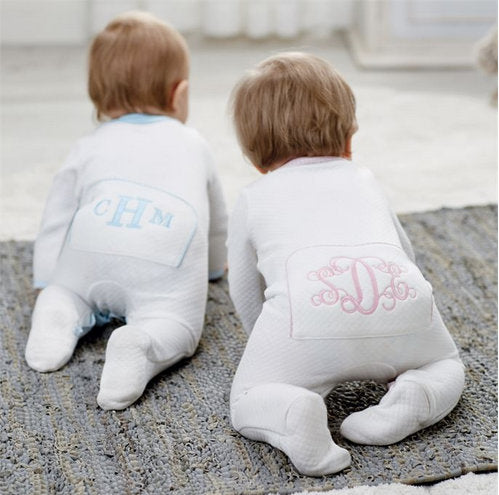 Quilted Monogrammed sleeper ~ new baby gift ~ coming home outfit ~ monogrammed baby - Blush & Company Designs