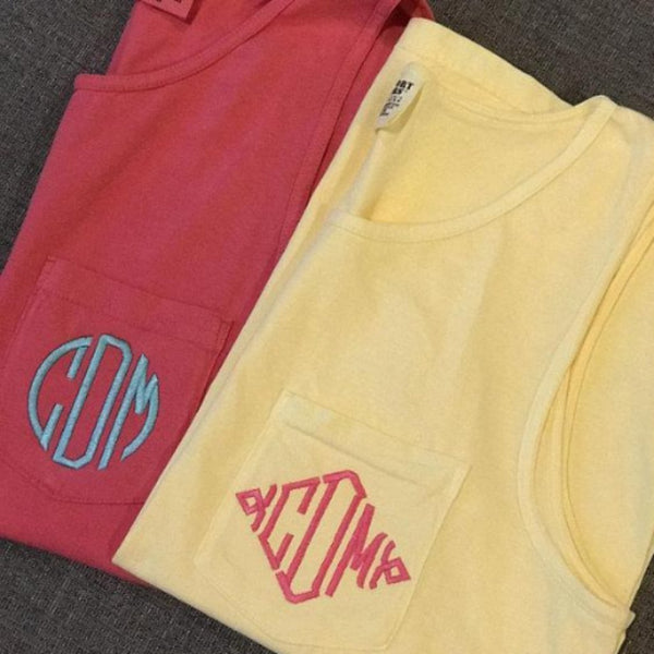 Monogrammed Comfort Colors Pocket Tank ~ monogrammed women's tank top - Blush & Company Designs