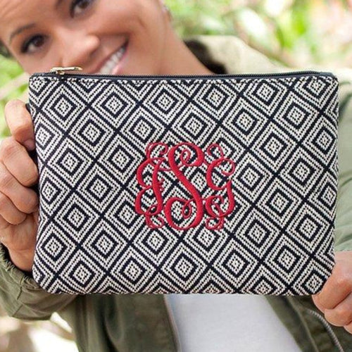 Monogram Wristlet, Monogram Clutch, Monogram Diamond Everly Wristlet - Blush & Company Designs