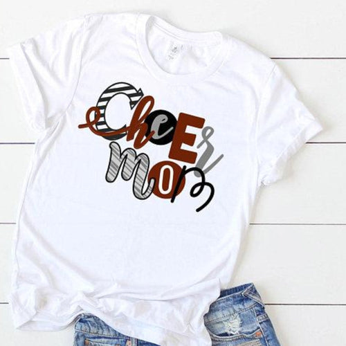 Cheer mom shirt ~ Whimsical letter cheer mom tshirt - Blush & Company Designs