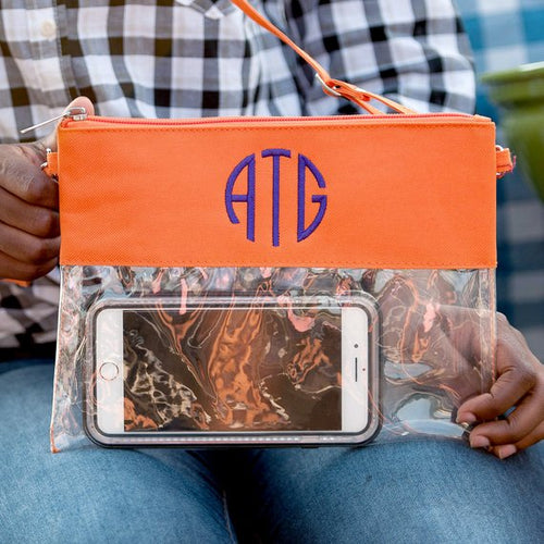LIMITED* ~ Clear Stadium Clutch ~ Monogrammed Clear bag for game day ~ Stadium approved ~ Clear bag