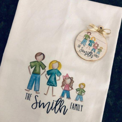 Personalized Tea Towel & Ornament ~ Stick Family