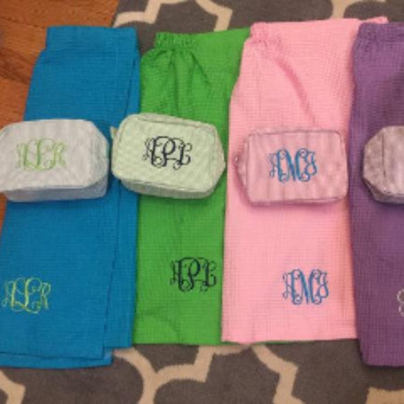 Monogrammed Seersucker Stacking Set by Mint®~ Stackable packing cubes