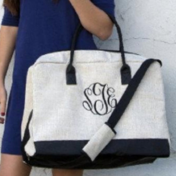 Linen Duffle Bag - Monogrammed - Travel Bag - Blush & Company Designs