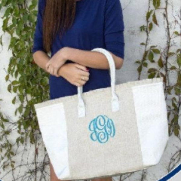 Monogram Linen Tote - Weekend Tote - Monogrammed - Blush & Company Designs