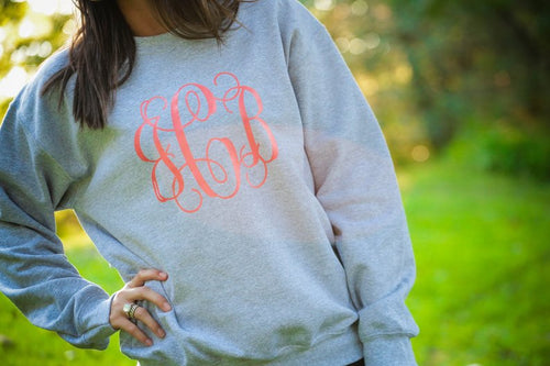 Monogrammed Womens crew neck sweatshirt ~ Large front monogram - Blush & Company Designs