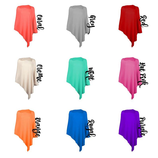 Monogrammed poncho ~ Spring colors! ~ Personalized Scarves, Shawls and Ponchos - Blush & Company Designs