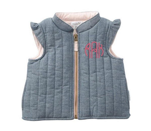 Girls Monogrammed Chambray Vest ~ Spring and summer vest ~ Personalized spring jacket for girls - Blush & Company Designs