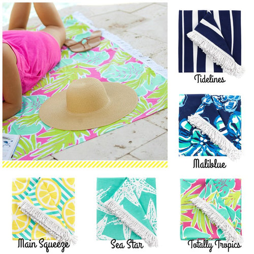 Monogrammed Sun Blanket ~ Personalized large beach towel ~ Beach Blanket - Blush & Company Designs