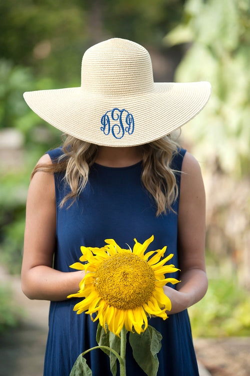 Monogrammed Floppy Hat ~ Bridesmaid Hats ~ Beach Hat ~ Sun Hat ~