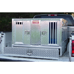 Owens Pro Hunter Aluminum Dog Box Double Tall- All Season w/ Bottom Drawer Storage 55057w