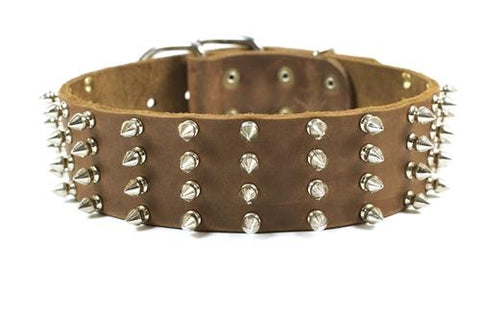 Dean and Tyler 4 Row Spikes Nickel Buckle and Brass Spiked Collar DTC4-NB