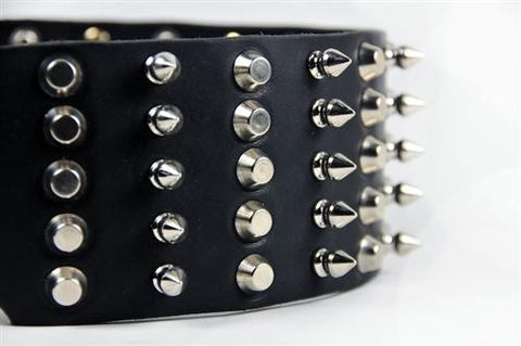 Dean and Tyler Wide Heaven Nickel Buckle and Brass Spiked Collar DTC5-C-NB
