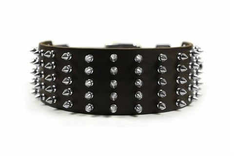 Dean and Tyler Wide Spike Brass Spiked Collar DTC5-B