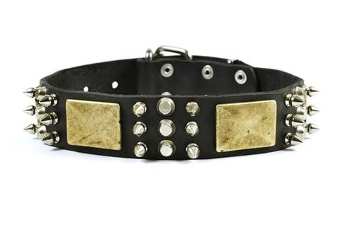 Dean and Tyler Crazy Combo Nickel Spiked Collar DTC86-N