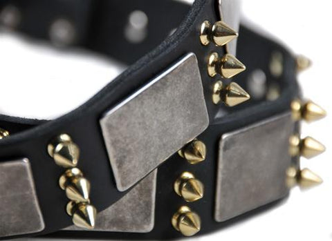 Dean and Tyler Devilish Della Brass Spiked Collar DTC87-B