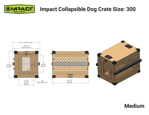 Grain Valley Impact Folding/Collapsible Dog Crate GVFoldCrate, Khaki