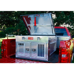 Owens Hunter Aluminum Dog Box Double Small- Standard w/ Top Storage 55018