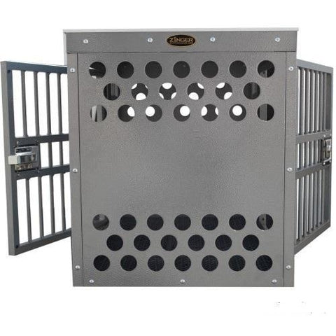 Zinger Deluxe Aluminum Dog Crate Side/Side Entry Centered, Zinger - DogkennelsUSA.com