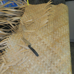 Half way through the second part of the body (raurahanga) of a Cook Islands mat